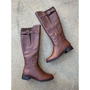 SODA Encina Cognac Riding Knee High Boots